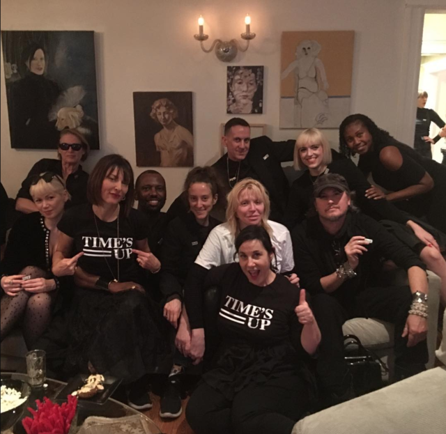 """<p>Everybody at the rocker's viewing party had on black — except her. She wrote a white Time's Up top, standing out from the crowd. (Photo: <a href=""""https://www.instagram.com/p/Bdq0NElBJvF/?hl=en&taken-by=courtneylove"""" rel=""""nofollow noopener"""" target=""""_blank"""" data-ylk=""""slk:Courtney Love via Instagram"""" class=""""link rapid-noclick-resp"""">Courtney Love via Instagram</a>) </p>"""