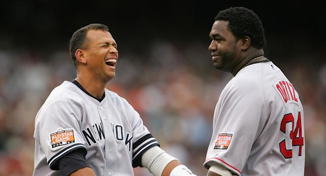 A-Rod and Big Papi in their playing days, on different teams. (AP)