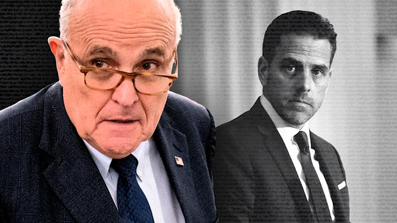Rudy Giuliani and Hunter Biden. (Photo illustration: Yahoo News; photos: AP, Teresa Kroeger/Getty Images)