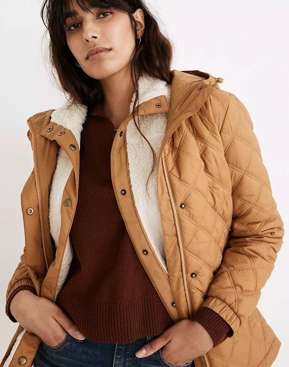 <p>If she's not much of a denim-jacket fan, this <span>Madewell Addition Quilted Packable Puffer Jacket</span> ($138) is a luxe-looking alternative, thanks to the quilted fabric. The sherpa insert and interior PrimaLoft insulation will keep her warm all day. The adjustable drawstring is also a cool touch.</p>
