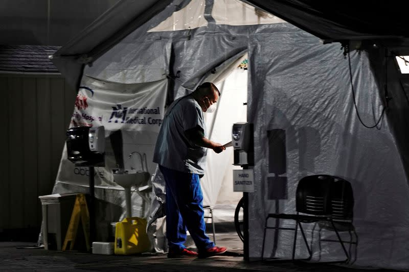 FILE PHOTO: Community Hospital of Huntington Park as positive coronavirus (COVID-19) cases surge in Los Angeles County