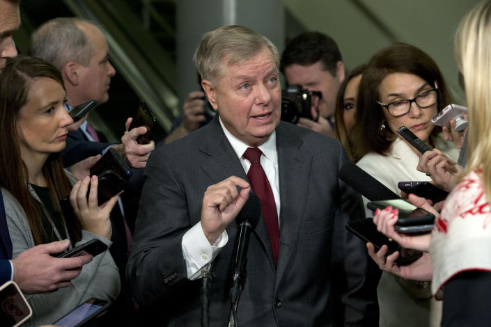 Sen. Lindsey Graham, R-S.C., speaks to the media before attending the impeachment trial of President Donald Trump on charges of abuse of power and obstruction of Congress, Thursday, Jan. 23, 2020, on Capitol Hill in Washington. (Photo: Jose Luis Magana/AP)