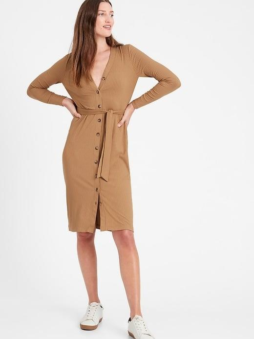 <p>The best thing about this <span>Banana Republic Ribbed-Knit Cardigan Dress</span> ($55-80, originally $80) is that it doubles as a sweater. </p>