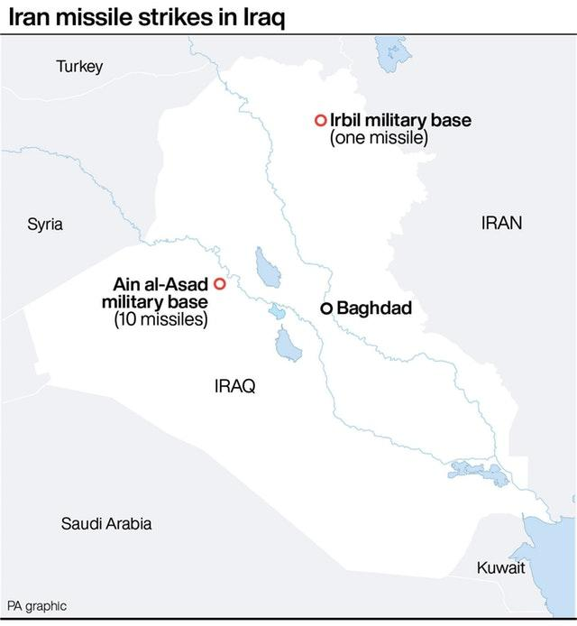 Iran missile strikes in Iraq