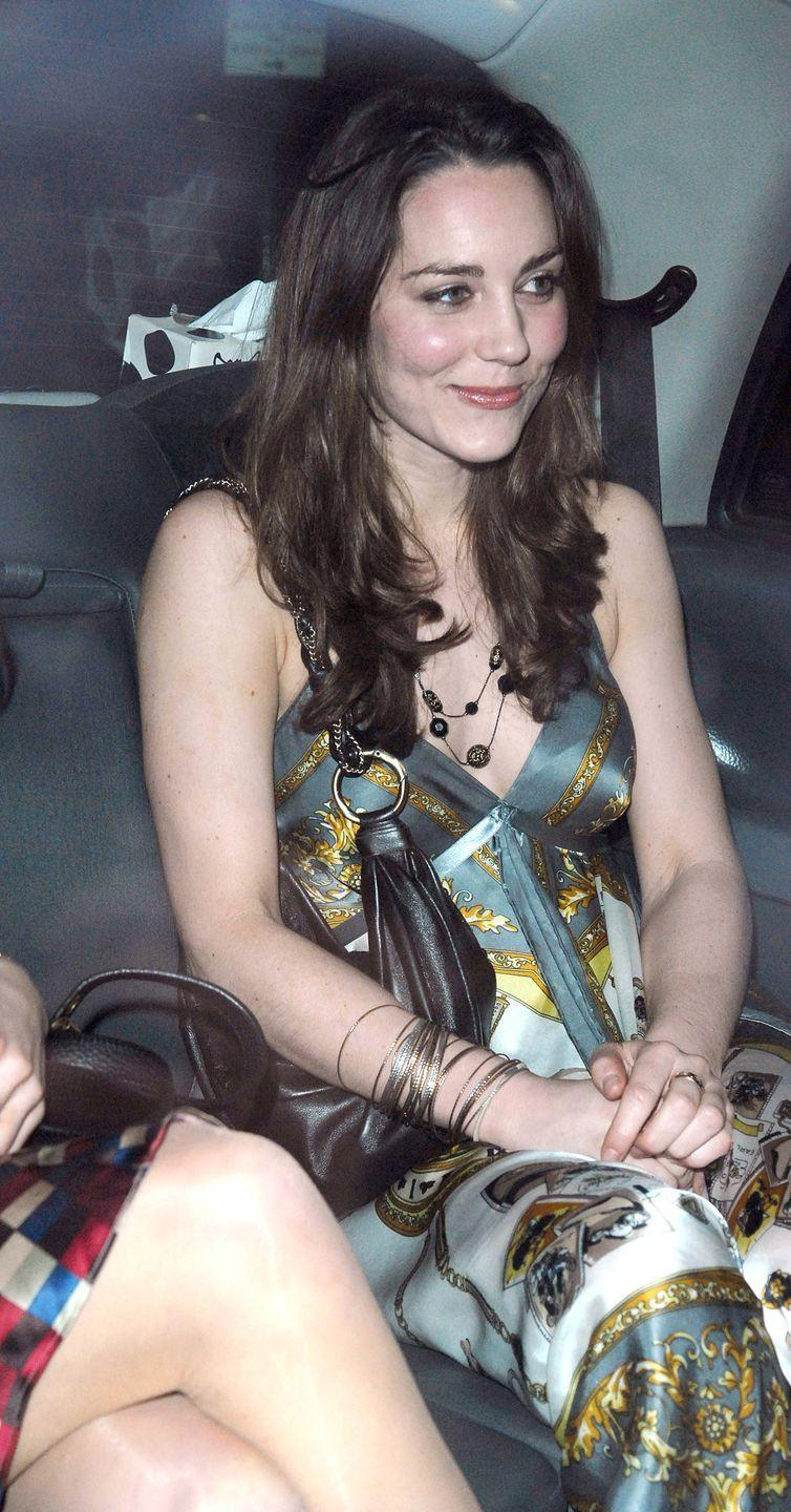 <p>Wearing a printed dress for a night out in London. </p>