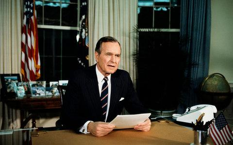 President Bush Speaking from the Oval Office - Credit: Wally McNamee