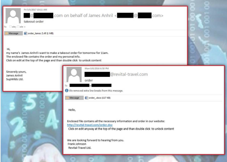 A sample of phishing emails the group has used in the past. (FBI)