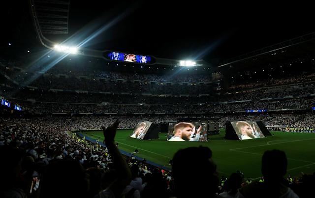 Soccer Football - Real Madrid fans watch the Champions League Final - Madrid, Spain - May 26, 2018 General view of the screens showing the match inside the Santiago Bernabeu REUTERS/Javier Barbancho
