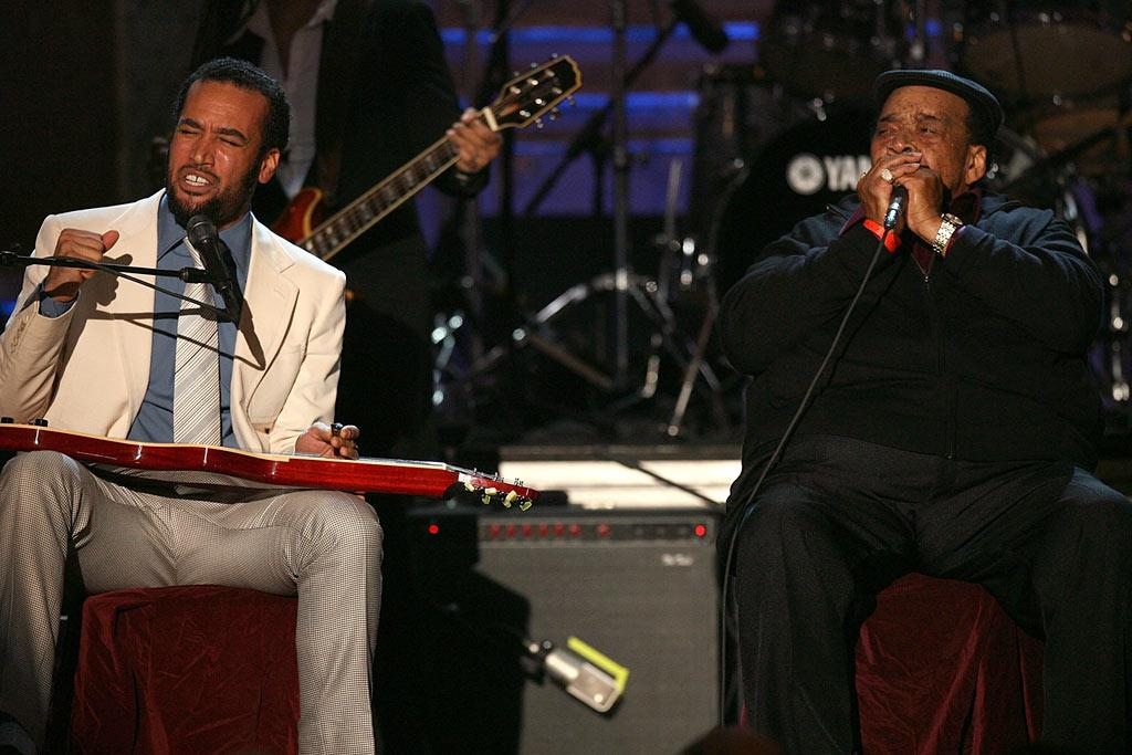 """Ben Harper and James Cotton pay tribute to 2008 inductee Little Walter, who was a master at blues harmonica. Kevin Kane/<a href=""""http://www.wireimage.com"""" target=""""new"""">WireImage.com</a> - March 10, 2008"""