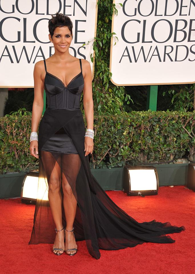 Last year's Globes saw Halle Berry accent her sexy Nina Ricci dress with $2.7 million diamond bangles from Harry Winston.