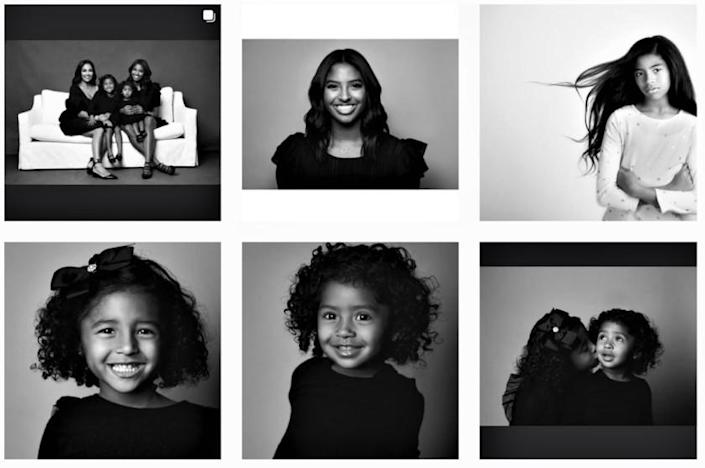 The Christmas card of Vanessa Bryant and her daughters she posted on social media.