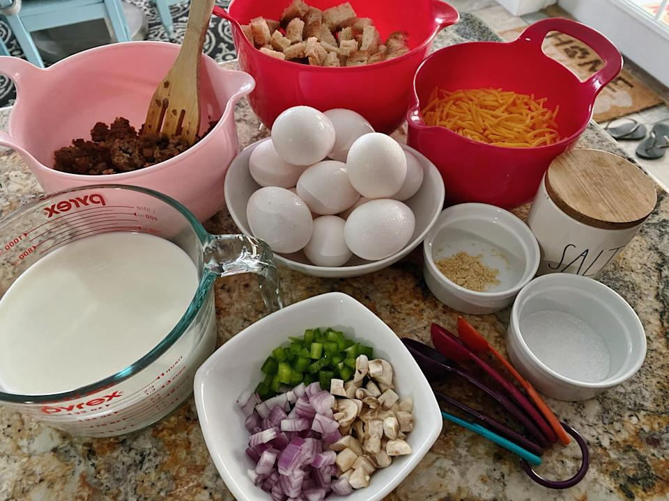 The ingredients for this old recipe include crumbled sausage and tons of chopped veggies. (Terri Peters)