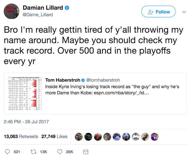 Damian Lillard is not here for your statistical analysis. (Twitter)