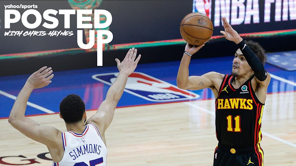 Ben Simmons of the Philadelphia 76ers attempts to block a shot from Trae Young of the Atlanta Hawks during game 7 of the 2021 Eastern Conference semifinals. (Photo by Tim Nwachukwu/Getty Images)