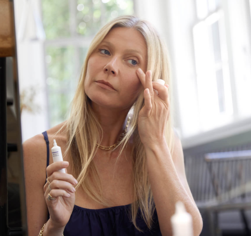 Gwyneth Paltrow using the All-In-One Nourishing Eye Cream (Goop)