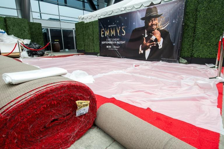 The red carpet area is readied for the Emmy Awards in Los Angeles (AFP/VALERIE MACON)