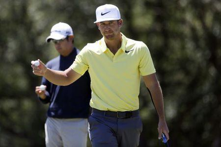 Apr 23, 2017; San Antonio, TX, USA; Kevin Chappell reacts after saving par on the sixth green during the final round of the Valero Texas Open golf tournament at TPC San Antonio - AT&T Oaks Course. Mandatory Credit: Soobum Im-USA TODAY Sports