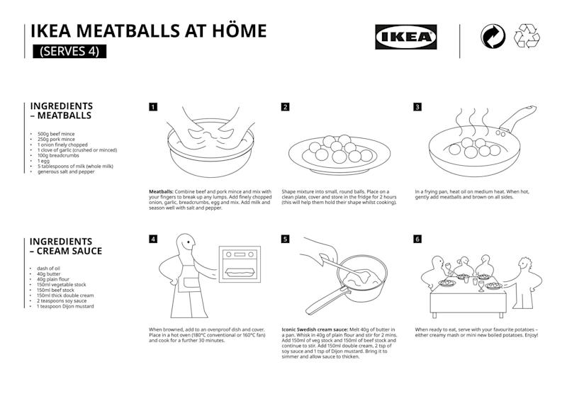 IKEA released step-by-step instructions on making its famous Swedish meatballs to help everyone enjoy them from home during the COVID-19 pandemic.