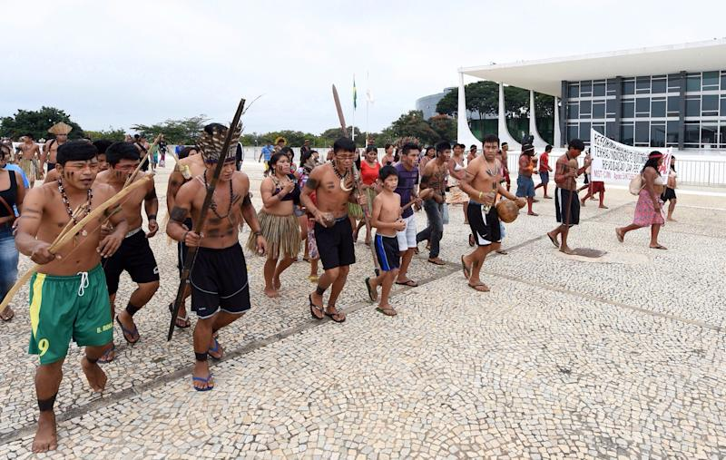 The demonstration took place outside the official workplace of Brazil's Presidency