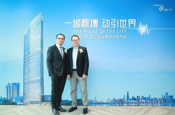 Mr. Derek Pang (left), Director - Leasing & Management of Hang Lung Properties, and Mr. Peter Leung (right), Director - Project Management of Hang Lung Properties, announce that the Office Tower of Heartland 66 is now open for leasing.