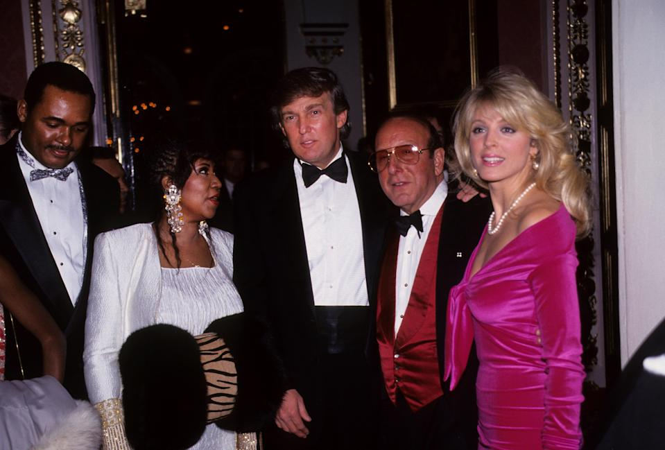 Aretha Franklin, Donald Trump, Clive Davis and Marla Maples attend an Arista Records Grammy party in February 1992. (Photo: Waring Abbott/Getty Images)