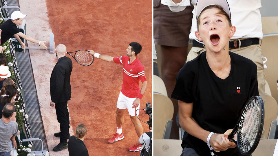 Novak Djokovic, pictured here gifting his racquet to a young fan after the French Open final.