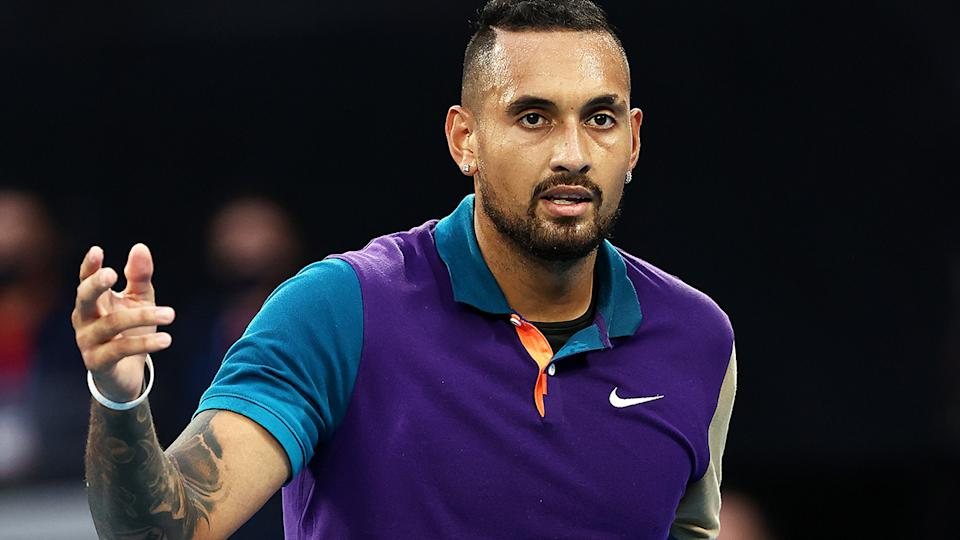 Nick Kyrgios eased past first round opponent Frederico Ferreira Silva of Portugal during day one of the 2021 Australian Open. (Photo by Cameron Spencer/Getty Images)