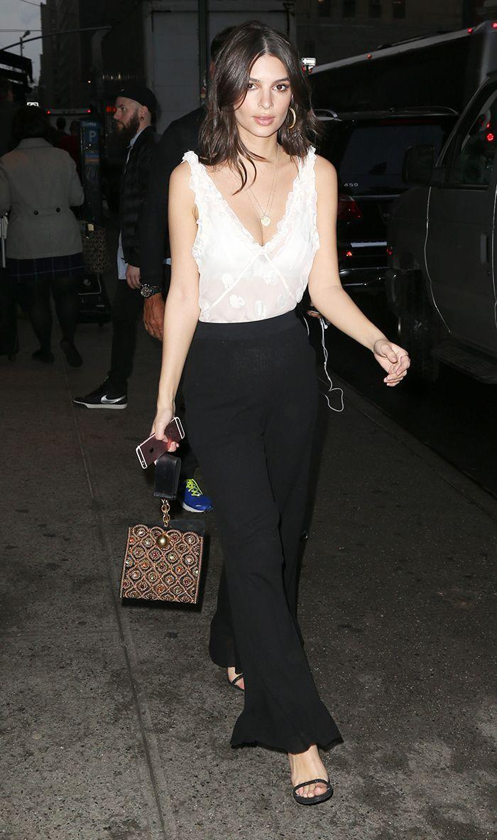 Think Olivia Palermo on just about any given day. A look that is casual but not at all lazy or frumpy. What to Wear: A dressy blouse with jeans and heels, a skirt and top set, a crisp pantsuit, or a dress. Flats are acceptable as long as they are not overtly casual (i.e., no sneakers).