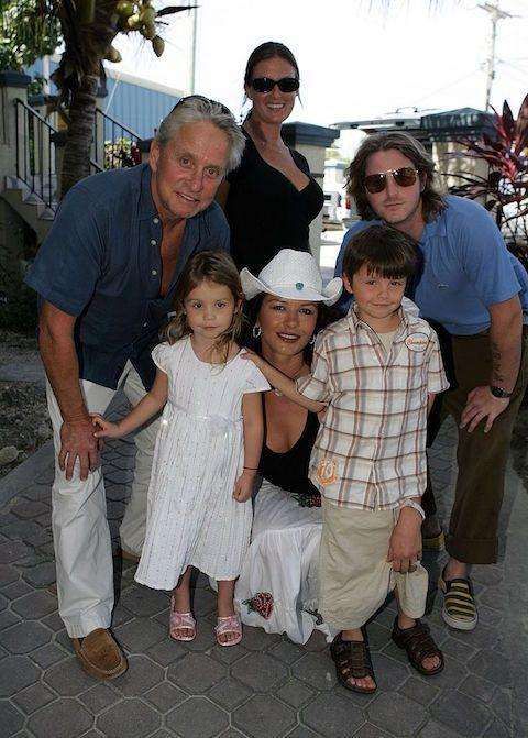 <p>Carys Zeta Jones (pictured here in 2007 with parents Catherine Zeta-Jones and Michael Douglas, and brothers Dylan, near right, and Cameron) was born on April 20 in 2003. </p>