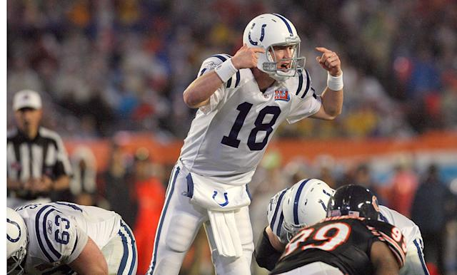 Peyton Manning in the Super Bowl in 2007. (Photo by Gary W. Green/MCT/via Getty Images)