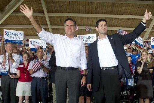 "<p>US Republican presidential candidate Mitt Romney (L) and his running mate Paul Ryan wave at a rally in Manassas, Virginia, on August 11. Romney and Ryan hit the road on a bus tour across must-win US states Saturday, selling themselves to voters as the duo who can win the White House and ""save the American dream.""</p>"