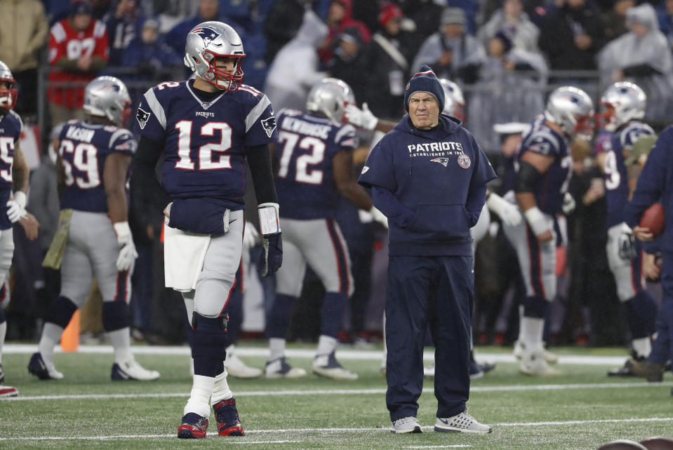 New England Patriots quarterback Tom Brady and head coach Bill Belichick before a game against the Dallas Cowboys on Nov. 24, 2019. (Photo by Fred Kfoury III/Icon Sportswire via Getty Images)