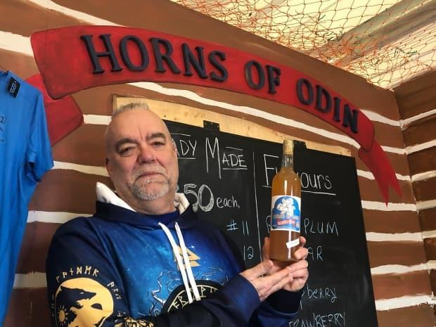 Horns of Odin owner Chuck Gallison says he's always been intrigued by Norse history and his Scandinavian heritage. (Nicola MacLeod/CBC - image credit)