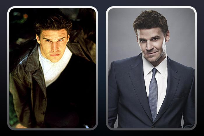 """<a href=""""/david-boreanaz/contributor/197158"""">David Boreanaz</a>  (""""Angel"""") — THEN: After joining the show in Season 2 as one of the world's most powerful vampires, Angel embarked on a complicated love affair with Buffy. He eventually moved to Los Angeles where he became the titular character in the spin-off. // NOW: The 42-year-old stars as FBI Special Agent Seeley Booth on Fox's hit forensics show """"<a href=""""/bones/show/37774"""">Bones</a>."""""""