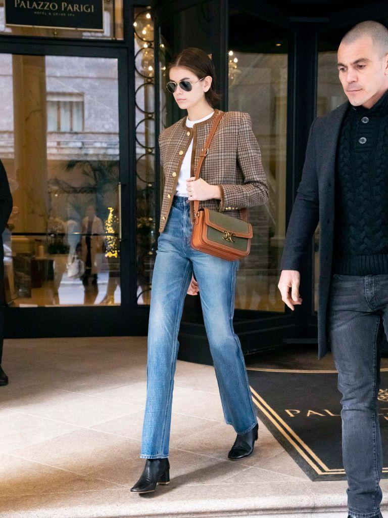 <p>The supermodel wore Celine for her off-duty look.</p>