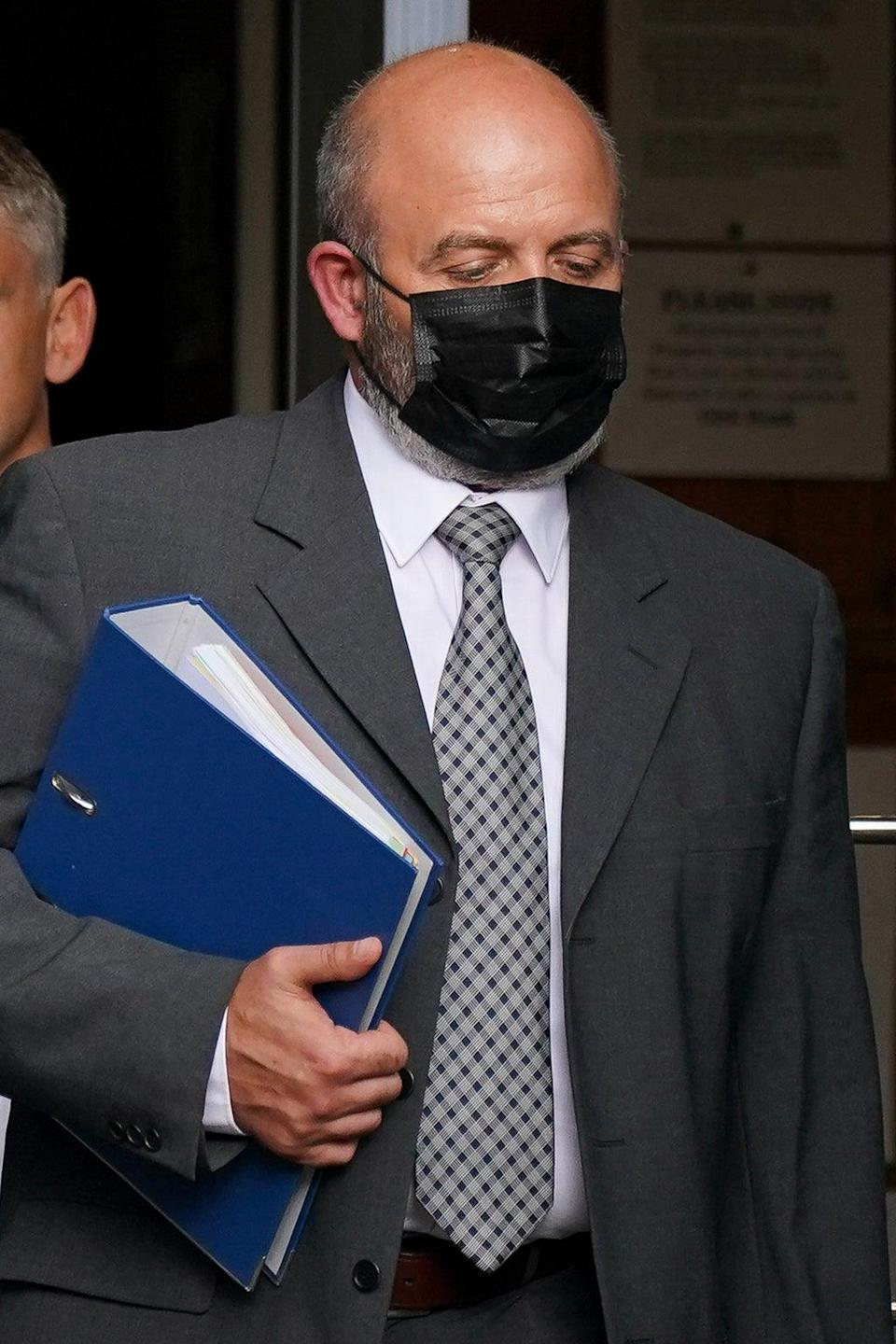 West Mercia Pc Jamie Holloway leaves Worcester Crown Court where he appeared charged with causing death by dangerous driving (PA) (PA Wire)