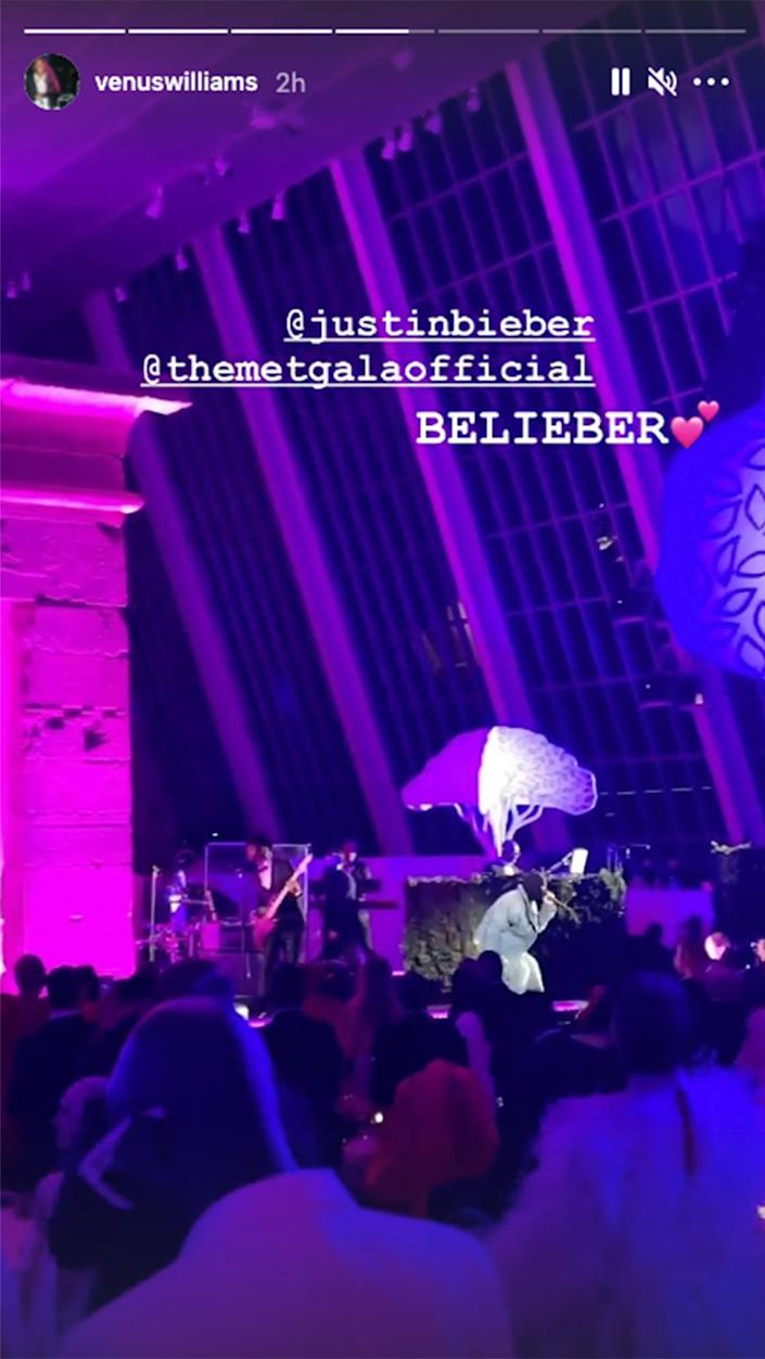 <p>Venus Williams was among the many stars who posted snippets of Justin Bieber's gala performance.</p>
