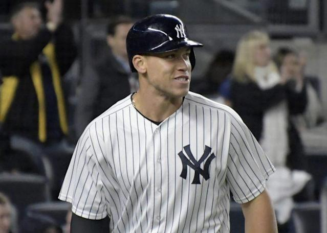 Aaron Judge is unrecognizable in a pair of glasses. (AP)