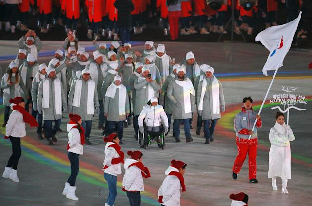 Neutral athletes in PyeongChang Olympic Stadium. (Credit: Getty Images)