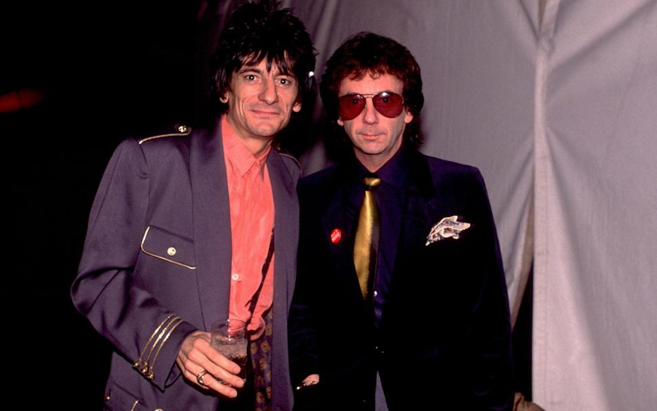 Phil Spector (right) in 1989, with Ronnie Wood of the Rolling Stones - Paul Natkin/WireImage