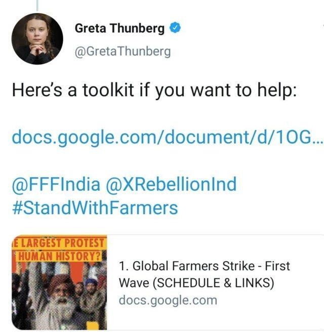 Greta Thunberg's tweet featuring the Google Doc