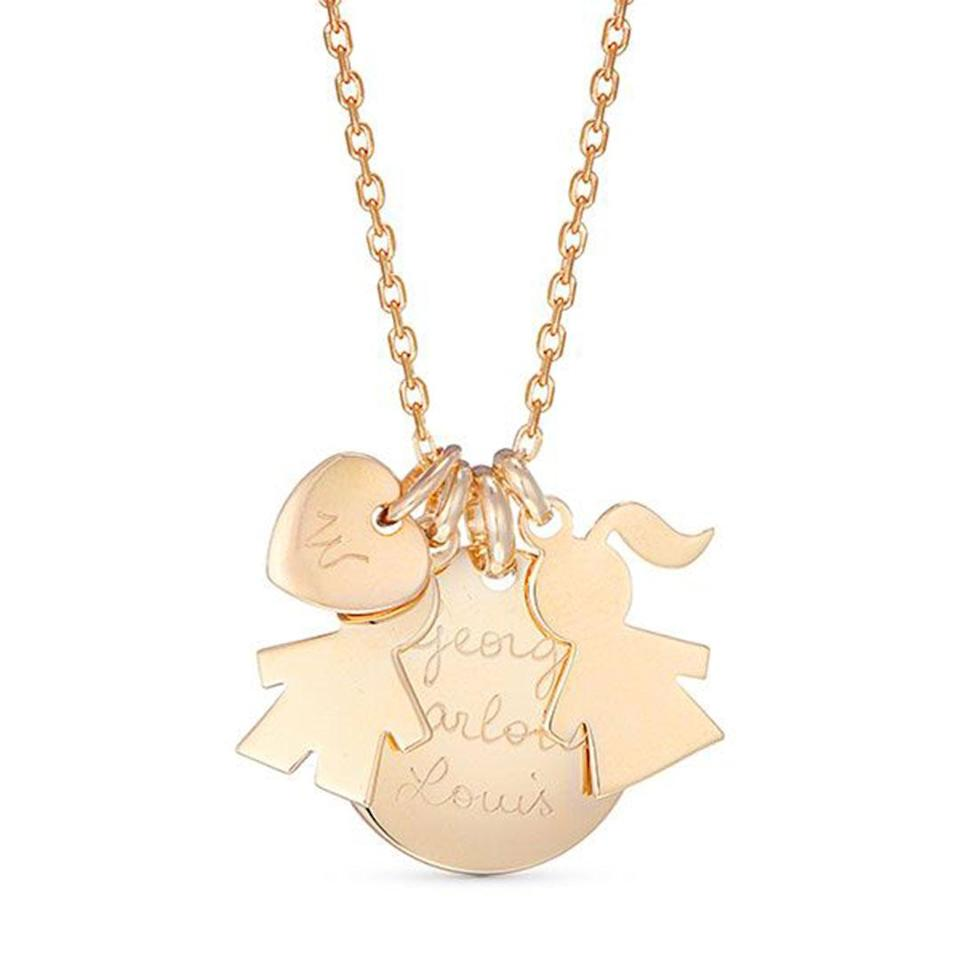 """<p>Kate has been spotted wearing a personalized necklace to keep her kids (and a """"W"""" for Prince William!) close at all times. </p> <p><strong>Buy It! The Duchess Necklace by Merci Mamam, <a href=""""https://www.mercimamanboutique.com/en/the-duchess-necklace"""" rel=""""sponsored noopener"""" target=""""_blank"""" data-ylk=""""slk:$155"""" class=""""link rapid-noclick-resp"""">$155</a></strong></p>"""