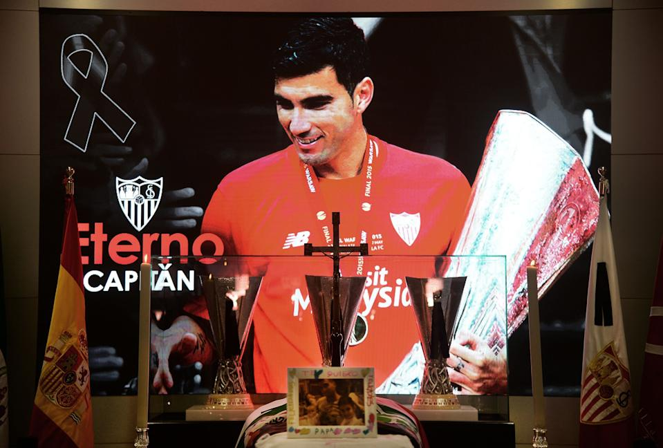 A portrait of Spanish football player Jose Antonio Reyes dominates the wake for the footballer at the Ramon Sanchez Pizjuan stadium in Seville on June 2, 2019. - Former Arsenal, Real Madrid and Spain forward, Jose Antonio Reyes, 35, was killed in a car crash yesterday. Reyes shot to fame at Sevilla and secured a switch to Arsenal, where he was part of the unbeaten 'Invincibles' 2003-2004 Premier League winners, before spells at Real and Atletico Madrid. (Photo by CRISTINA QUICLER / AFP)        (Photo credit should read CRISTINA QUICLER/AFP/Getty Images)