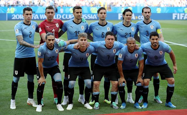 Soccer Football - World Cup - Group A - Uruguay vs Saudi Arabia - Rostov Arena, Rostov-on-Don, Russia - June 20, 2018 Uruguay players pose for a team group photo before the match REUTERS/Marko Djurica