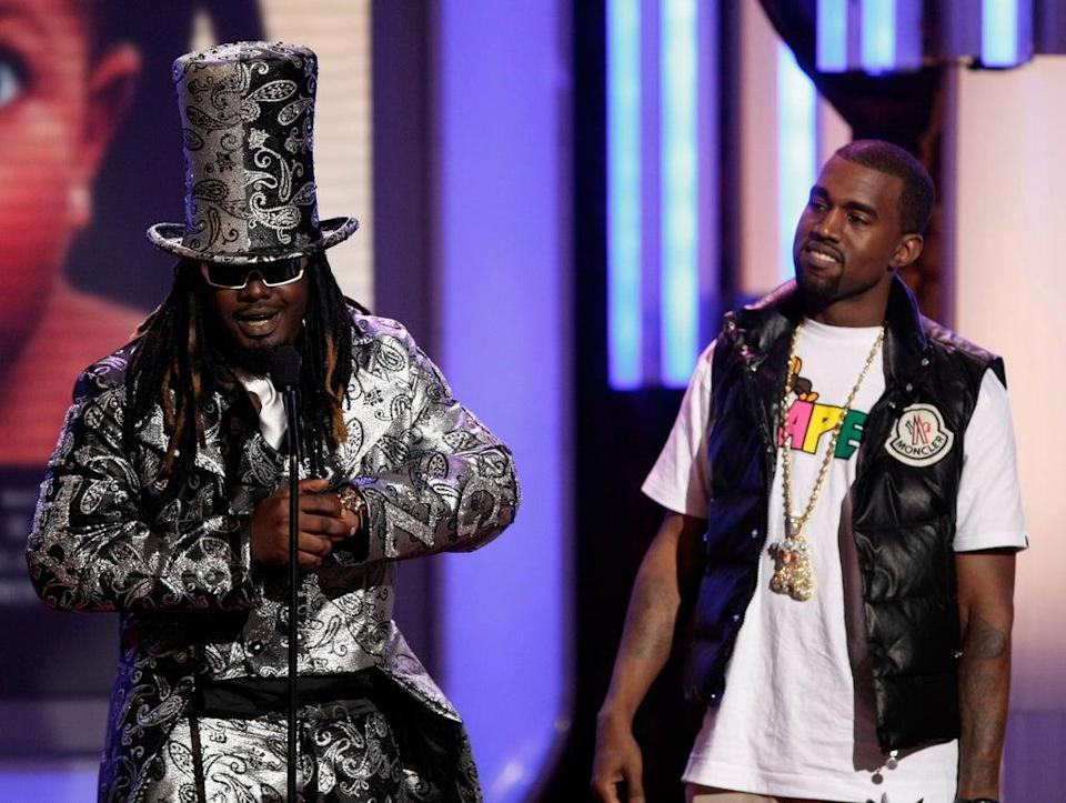 File image: T-Pain and rapper Kanye West accept the Best Collaboration award onstage during the 2008 BET Awards (Getty Images)