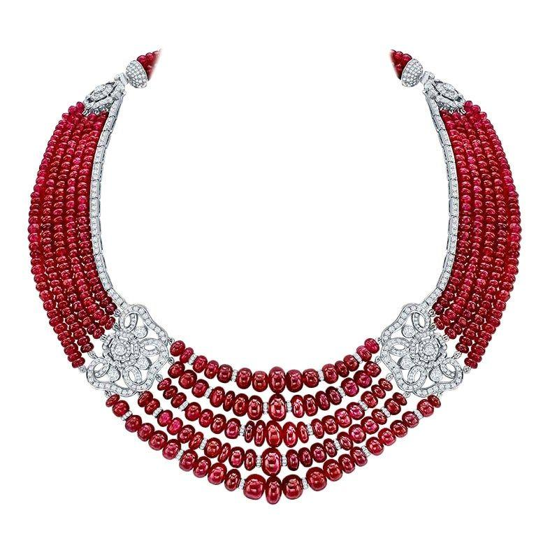 """<p>If you are going to go for a classic ruby and diamond necklace, then let this be the one. """"The House of Garrard has been the go-to jewelry Maison for British Royalty and Indian Princes for over 150 years,"""" says Cristina Miller of <a href=""""https://www.1stdibs.com/"""" target=""""_blank"""">1stdibs</a>. <a class=""""body-btn-link"""" href=""""https://www.1stdibs.com/jewelry/necklaces/beaded-necklaces/garrard-red-rose-18-karat-white-gold-white-diamond-ruby-necklace/id-j_8497502/"""" target=""""_blank"""">SHOP NOW</a></p>"""