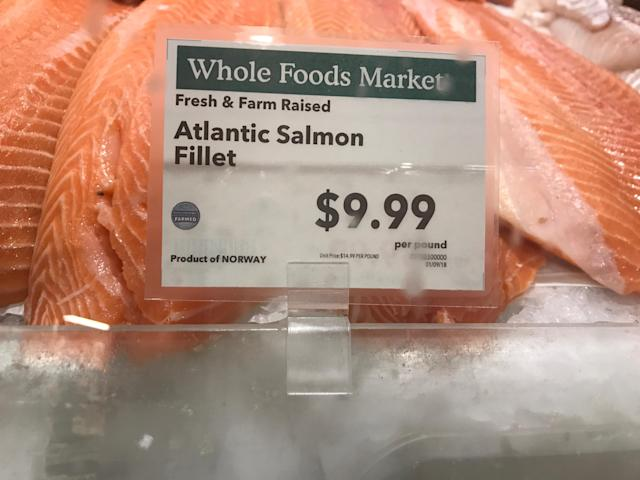 Salmon prices on Monday.