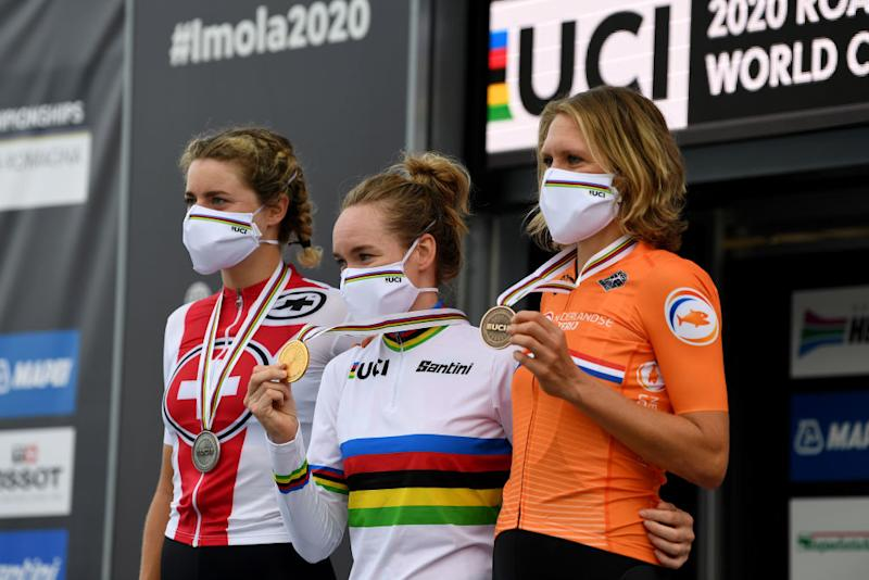 IMOLA ITALY SEPTEMBER 24 Podium Marlen Reusser of Switzerland Silver medal Anna Van Der Breggen of The Netherlands World Champion Jersey Gold medal Ellen Van Dijk of The Netherlands Bronze Medal Celebration Mask during the 93rd UCI Road World Championships 2020 Women Elite Individual Time Trial a 317km stage from Imola to Imola ITT ImolaEr2020 Imola2020 on September 24 2020 in Imola Italy Photo by Tim de WaeleGetty Images