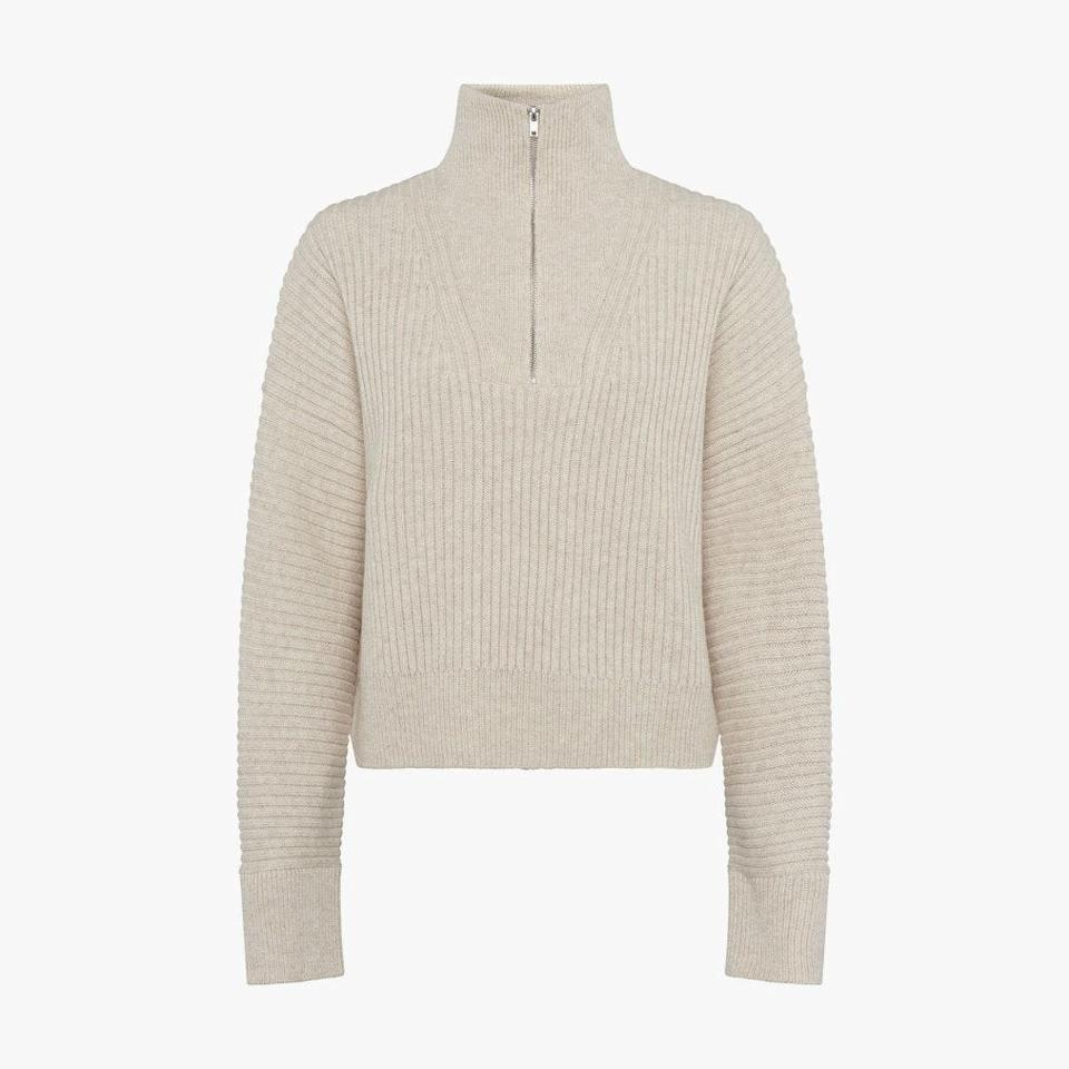 """$158, FRENCH CONNECTION. <a href=""""https://usa.frenchconnection.com/product/woman-collections-sweaters/78pah/lana-knits-half-zip-sweater.htm"""" rel=""""nofollow noopener"""" target=""""_blank"""" data-ylk=""""slk:Get it now!"""" class=""""link rapid-noclick-resp"""">Get it now!</a>"""