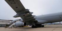 Members of the British armed forces 16 Air Assault Brigade disembark a RAF Voyager aircraft after landing at Brize Norton